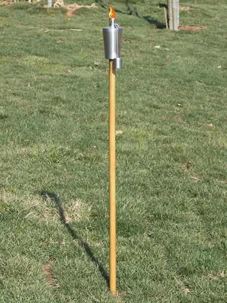 CT-103w rostfritt stål trädgård ficklampa med trä pole