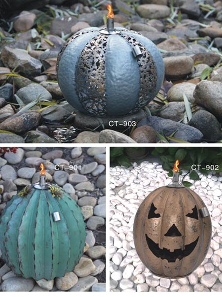CT-901-903 Tabell Ficklampa för Backyard eller uteplats, Rostfritt stål med glasfiber Wick