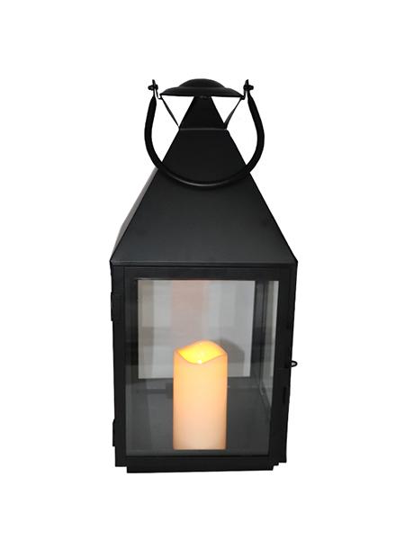 Tall Dubh Miotal Battery feidhmiú stiúir Flameless Candle Lantern le haghaidh Allamuigh Dhíon